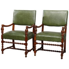 Antique Pair of Figural English Elizabethan Walnut Upholstered Armchairs