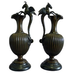 Antique Pair of Fine Patinated Bronze and Marble Urns