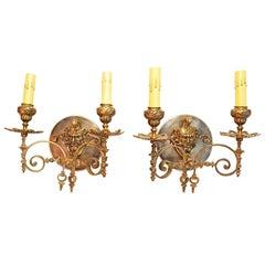 Antikes Paar Französischer Bronze Kerzenleuchter, 19. Jahrhundert