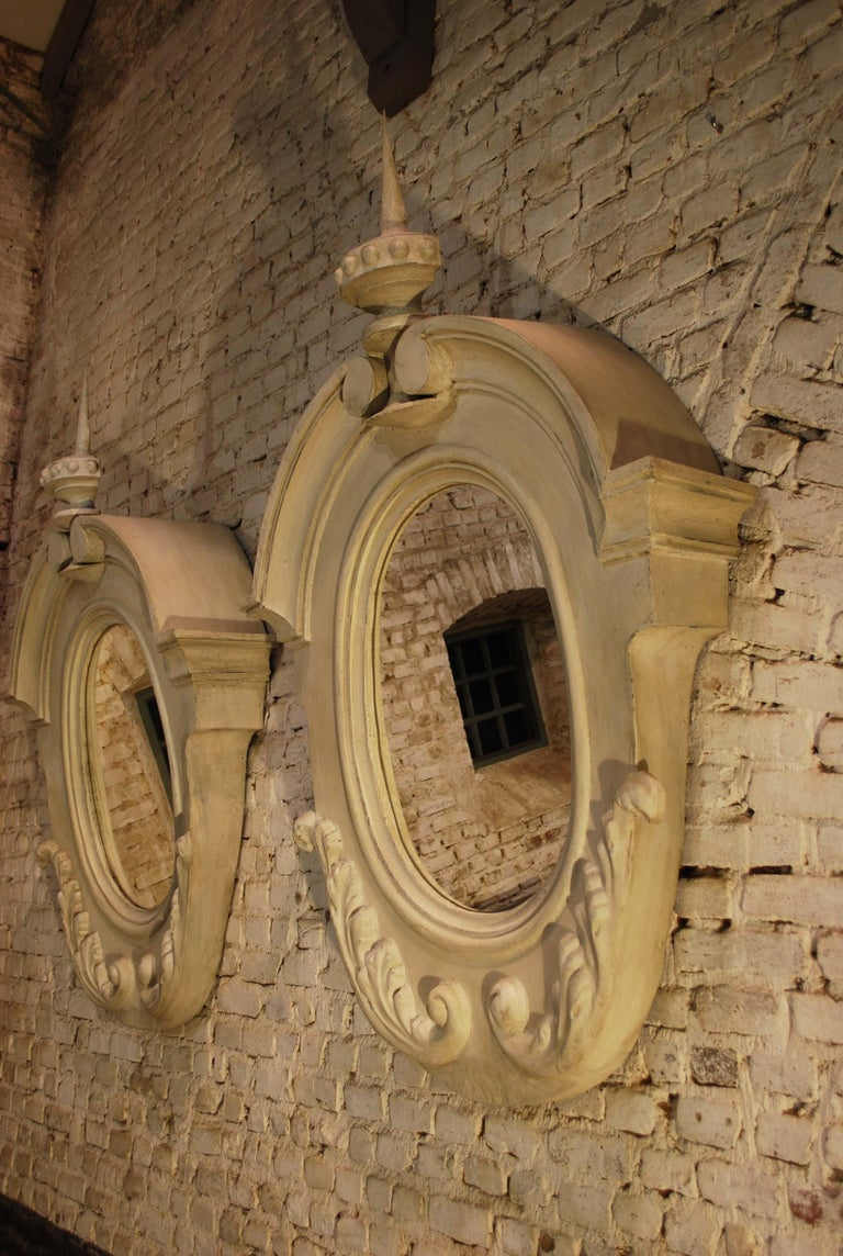 """This beautiful pair of dormer windows oiginate in Southern France and date approximately 1870.  These windows are also known as """"Oeil de Boeuf"""" wich means oxe's eye and are typical for French architecture. The windows are made in zinc and have been"""