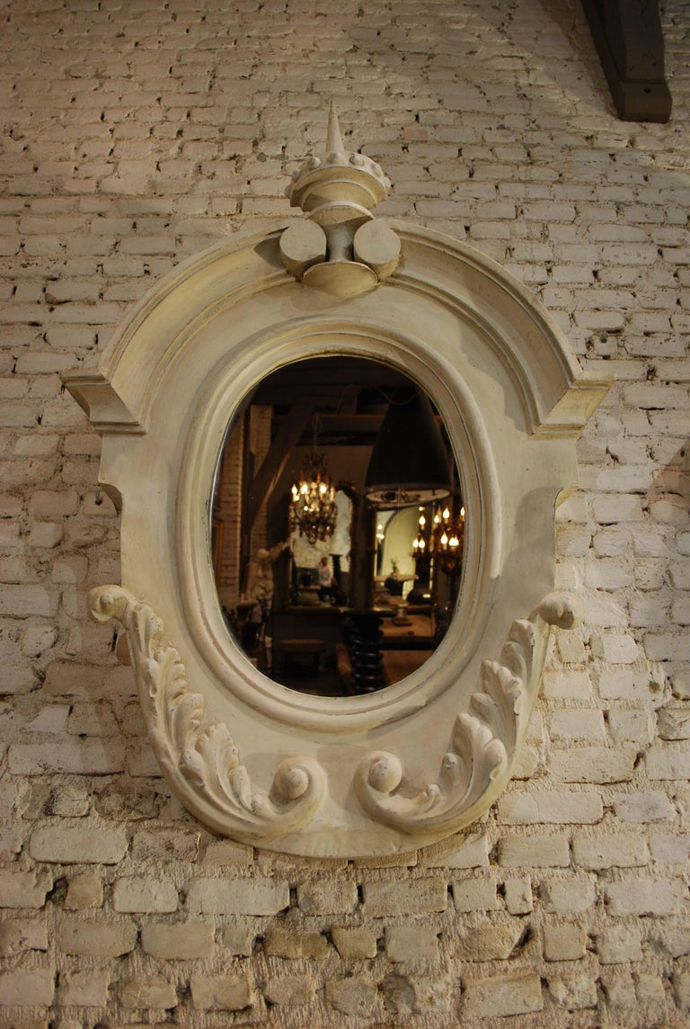 19th Century Antique Pair of French Architectural Oeil de Boeuf Mirrors in Zinc  For Sale