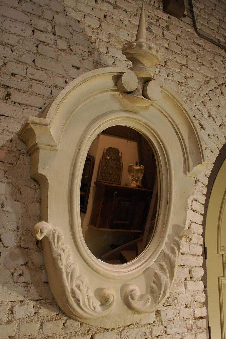 Antique Pair of French Architectural Oeil de Boeuf Mirrors in Zinc  For Sale 1