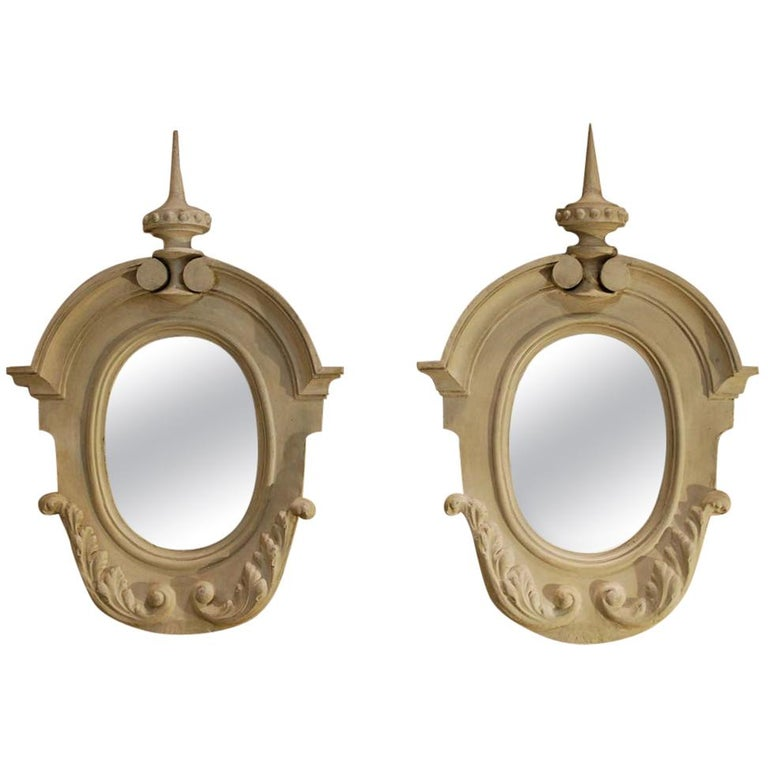 Antique Pair of French Architectural Oeil de Boeuf Mirrors in Zinc