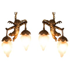 Antique Pair of French Bronze Cherub Pendant Lights
