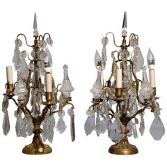 Antique Pair of French Bronzed Crystal Candelabras Lamps, circa 1910