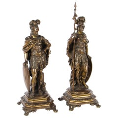 Antique Pair of French Bronzes of Mars and Minerva, 19th Century