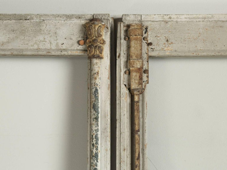 Country Antique Pair of French Doors in Original Paint, Unrestored For Sale