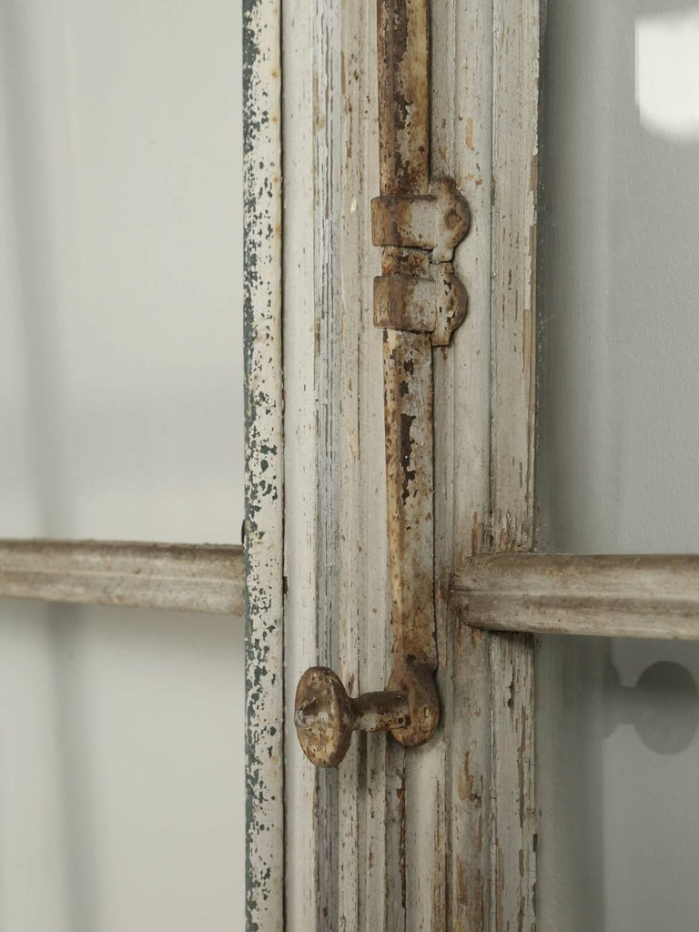 Antique Pair of French Doors in Original Paint, Unrestored In Distressed Condition For Sale In Chicago, IL