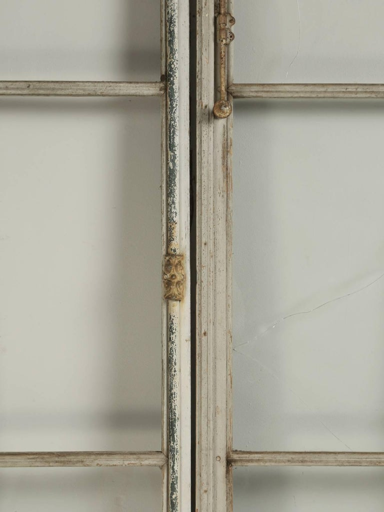 Mid-19th Century Antique Pair of French Doors in Original Paint, Unrestored For Sale