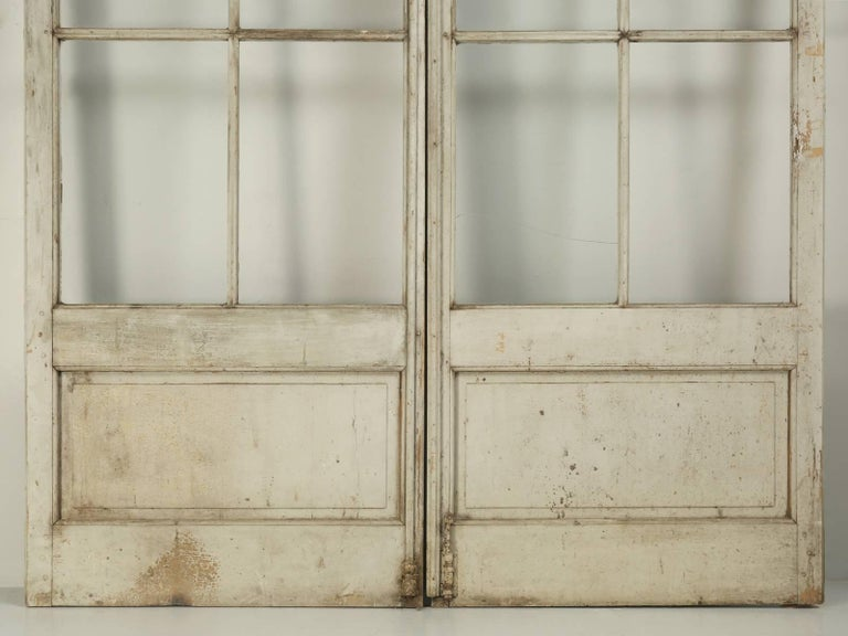 Antique Pair of French Doors in Original Paint, Unrestored For Sale 3