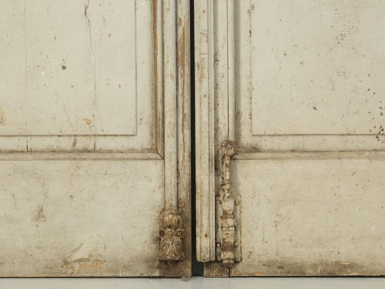 Antique Pair of French Doors in Original Paint, Unrestored For Sale 4