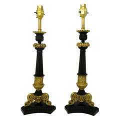 Antique Pair of French Doré Bronze Neoclassical Ormolu Candlestick Lamps