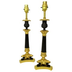 Antique Pair of French Doré Bronze Neoclassical Ormolu Gilt Candlestick Lamps
