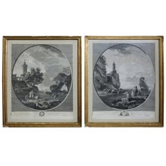 Antique Pair of French Etchings After Paintings by Joseph Vernet, 19th Century