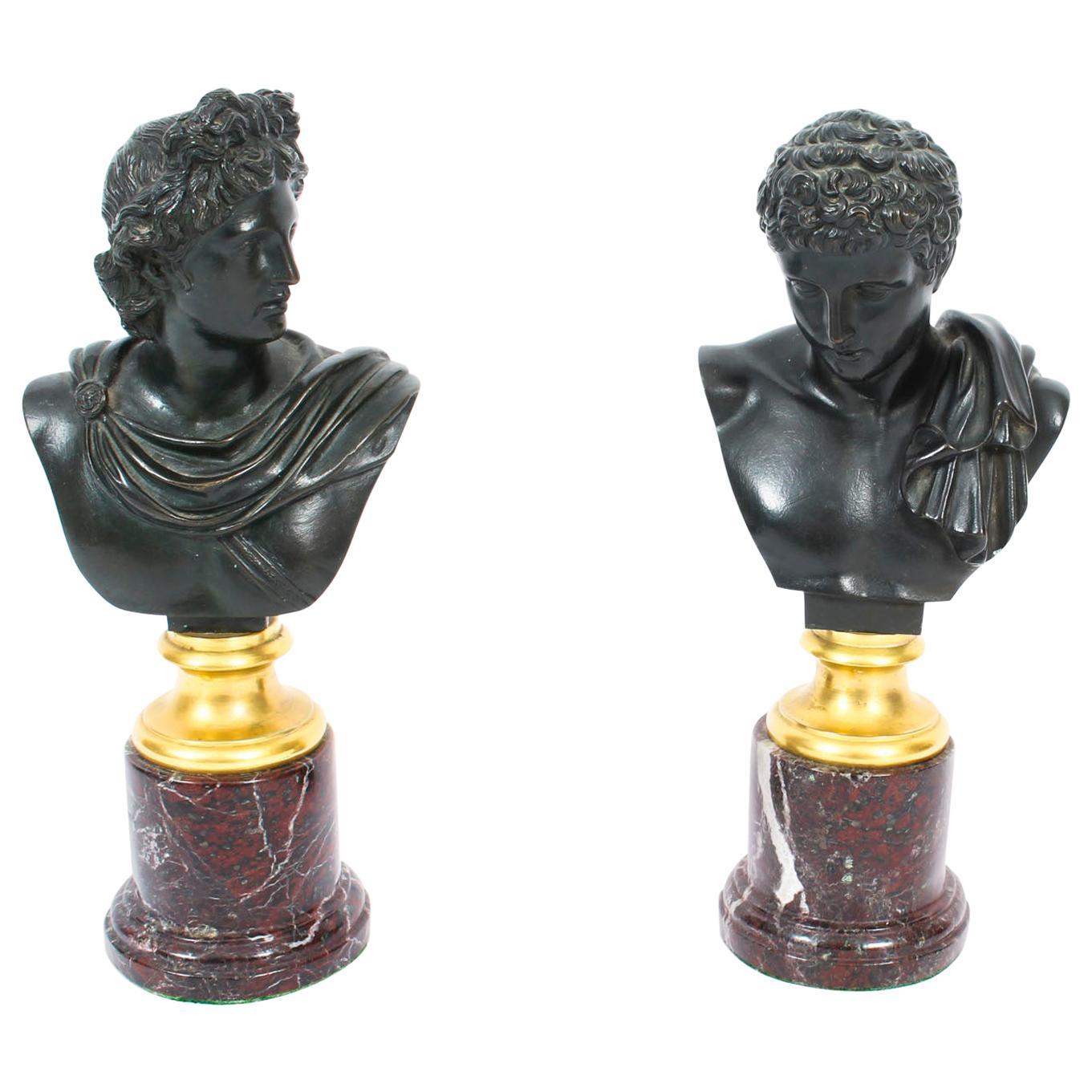 Antique Pair of French Grand Tour Bronze Busts Mercury & Apollo, 19th Century