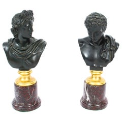 Antique Pair of French Grand Tour Bronze Busts Mercury & Apollo, 19th Century