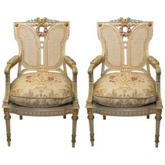 Antique Pair of French Handpainted Chairs