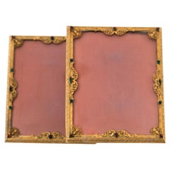 Antique Pair of French Jewelled Bronze Picture Frames