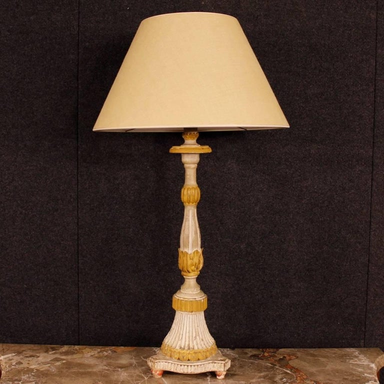 Antique Pair of French Lamps in Lacquered Wood from 19th Century For Sale 8