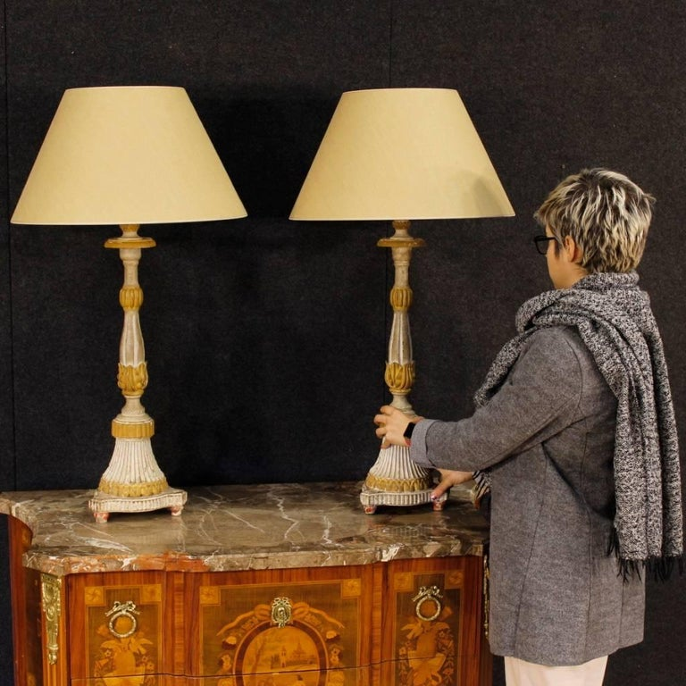 Antique Pair of French Lamps in Lacquered Wood from 19th Century For Sale 9