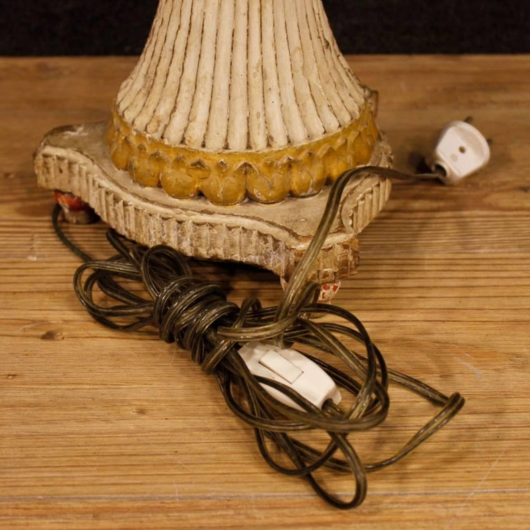 Antique Pair of French Lamps in Lacquered Wood from 19th Century For Sale 5