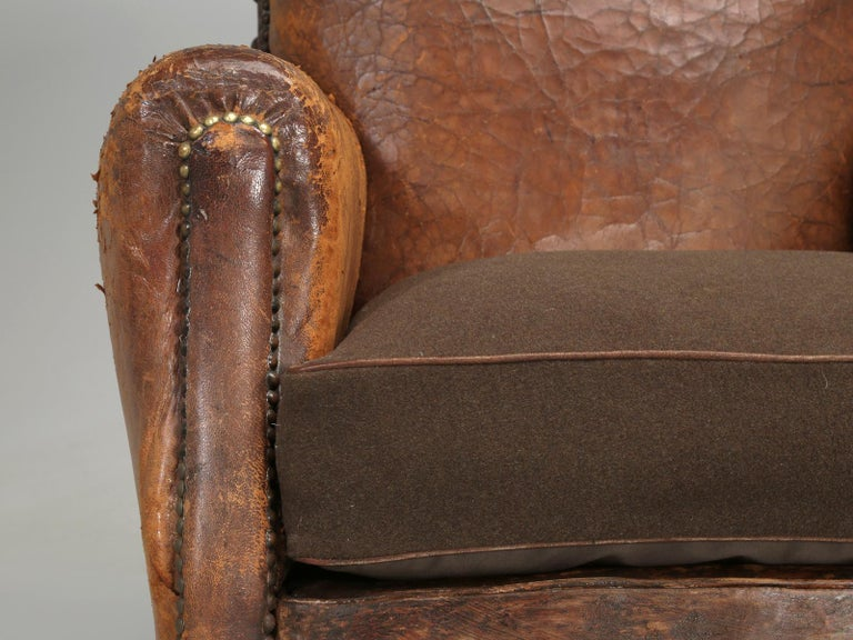Antique Pair of French Leather Club Chairs from the 1920s Extensively Restored For Sale 10