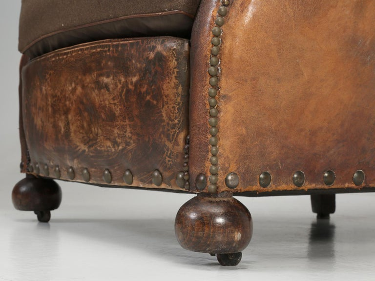 Antique Pair of French Leather Club Chairs from the 1920s Extensively Restored For Sale 11