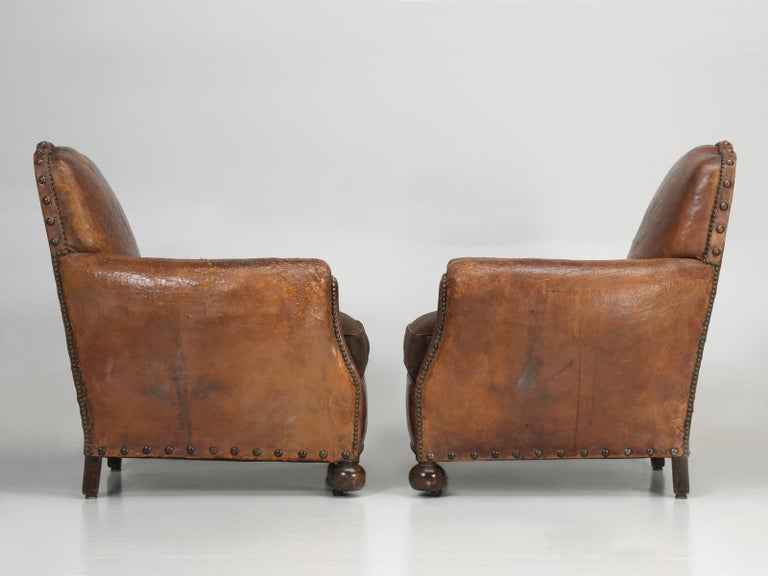 Antique Pair of French Leather Club Chairs from the 1920s Extensively Restored For Sale 12
