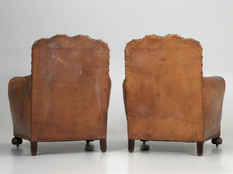 Antique Pair of French Leather Club Chairs from the 1920s Extensively Restored For Sale 13