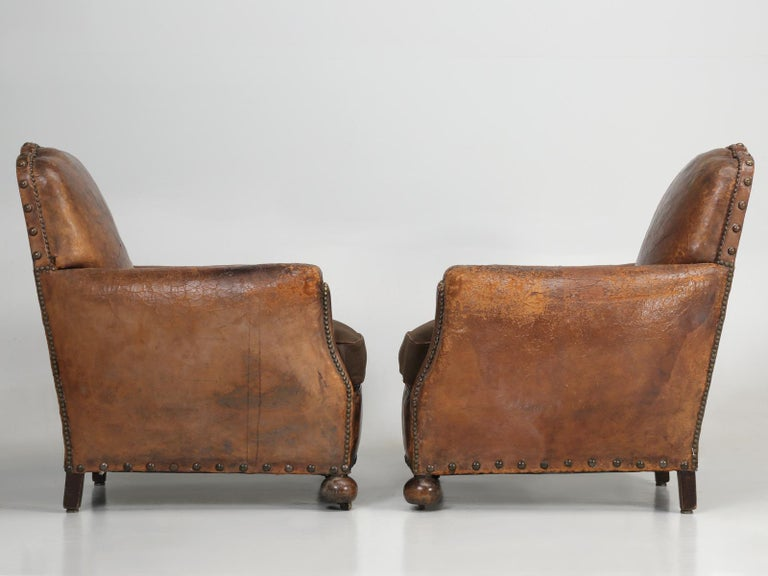 Antique Pair of French Leather Club Chairs from the 1920s Extensively Restored For Sale 14