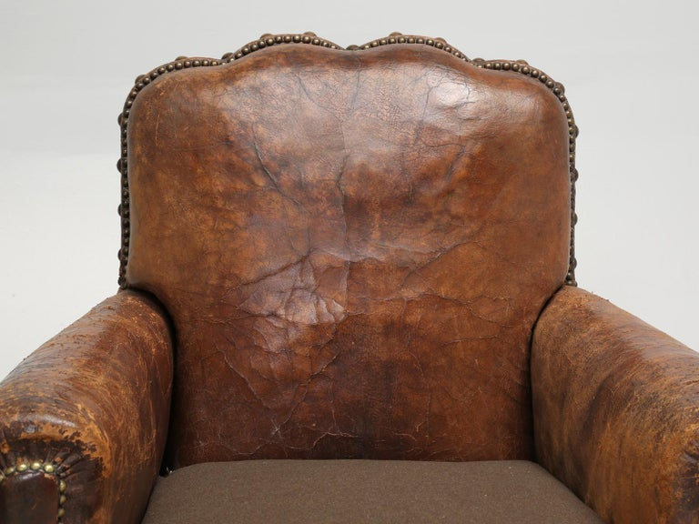 Hand-Crafted Antique Pair of French Leather Club Chairs from the 1920s Extensively Restored For Sale