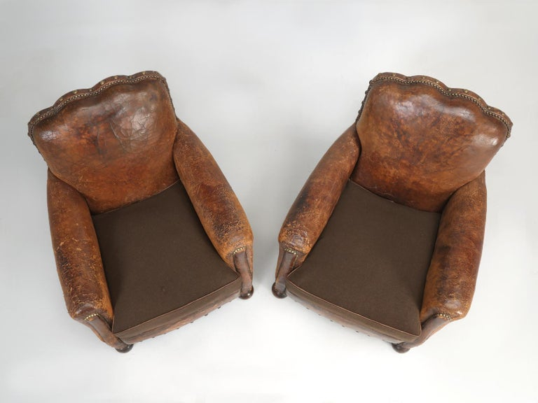 Early 20th Century Antique Pair of French Leather Club Chairs from the 1920s Extensively Restored For Sale