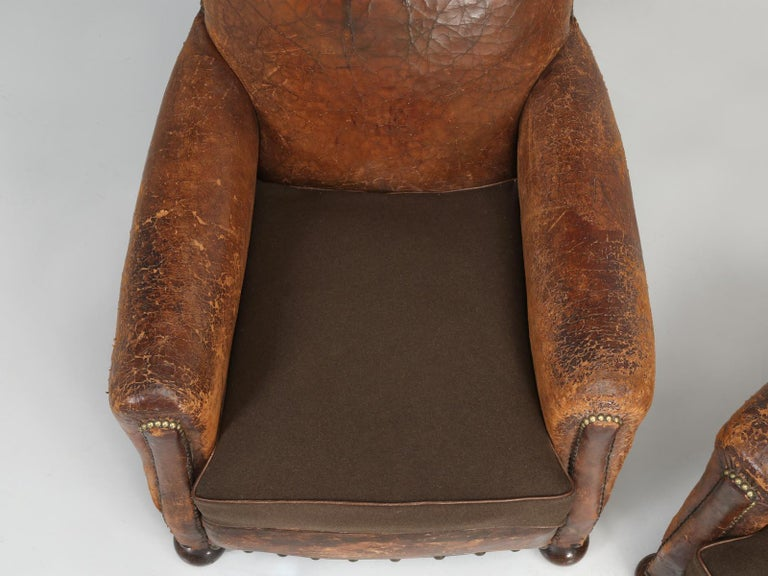 Antique Pair of French Leather Club Chairs from the 1920s Extensively Restored For Sale 1