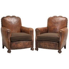 Antique Pair of French Leather Club Chairs from the 1920s Extensively Restored