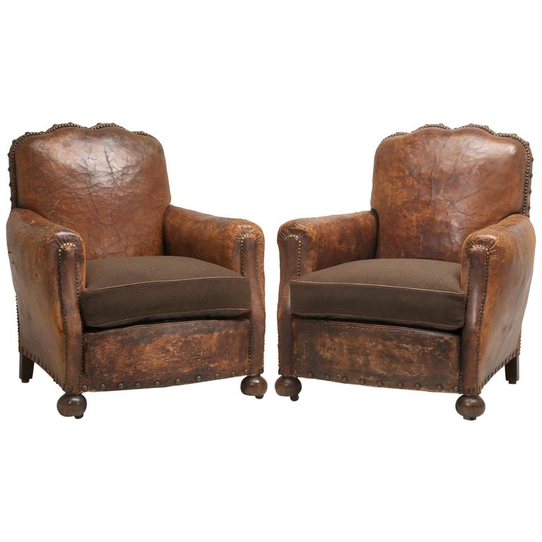 Antique Pair of French Leather Club Chairs from the 1920s Extensively Restored For Sale