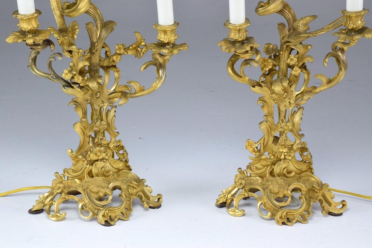 French Pair of Antique Louis VXI Ormolu Electrified Candelabras  For Sale 3