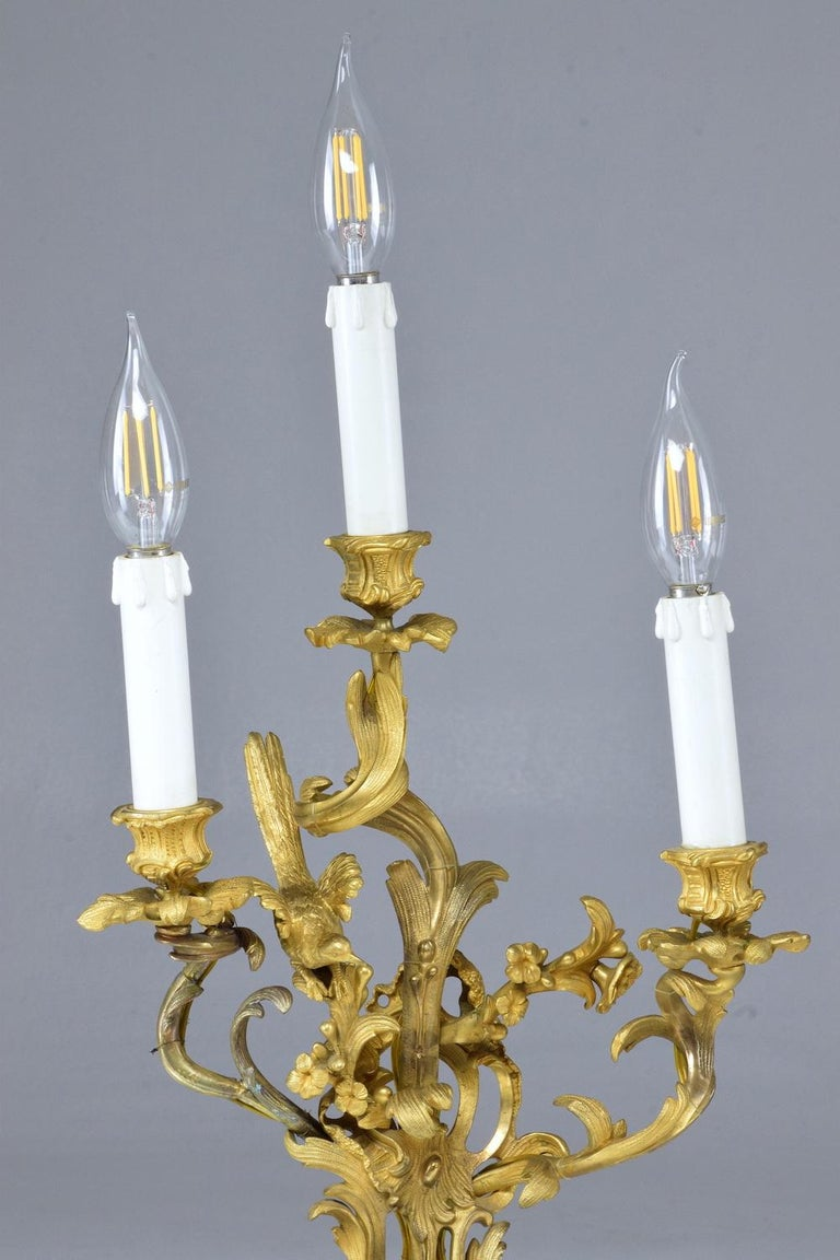 French Pair of Antique Louis VXI Ormolu Electrified Candelabras  For Sale 6