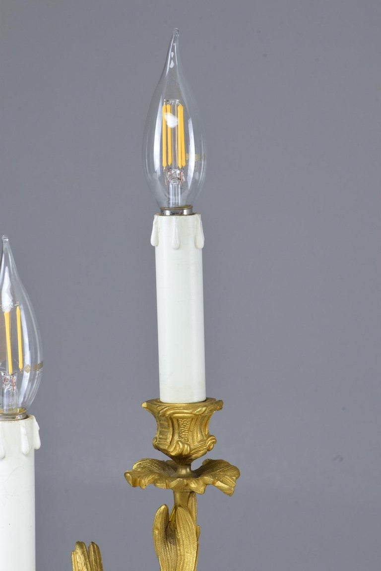 French Pair of Antique Louis VXI Ormolu Electrified Candelabras  For Sale 7