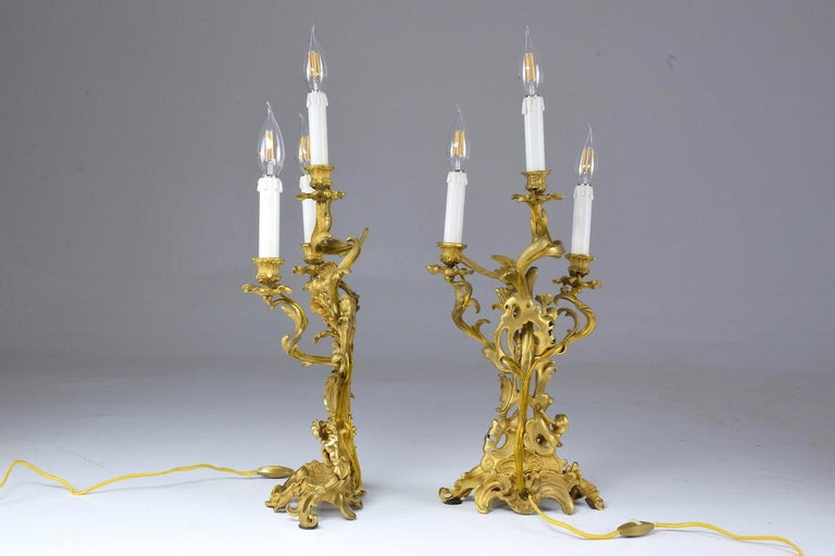 Gilt  French Pair of Antique Louis VXI Ormolu Electrified Candelabras  For Sale