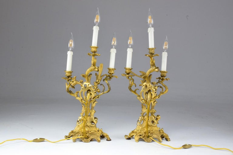 French Pair of Antique Louis VXI Ormolu Electrified Candelabras  In Good Condition For Sale In Paris, FR