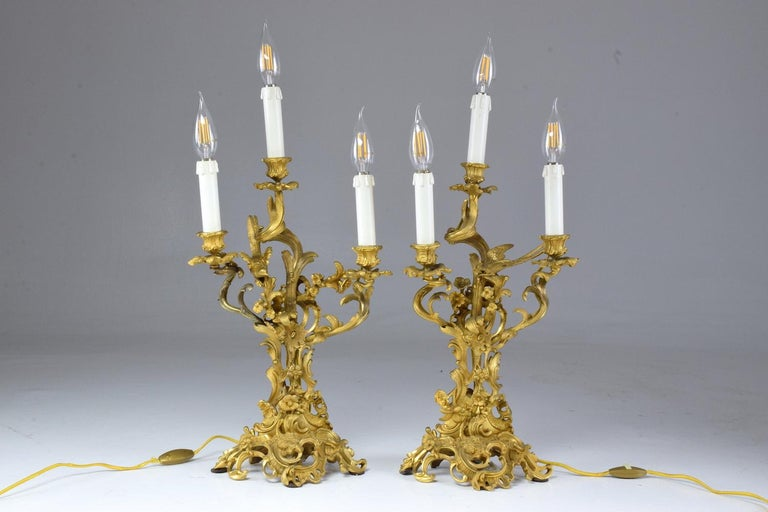 19th Century  French Pair of Antique Louis VXI Ormolu Electrified Candelabras  For Sale