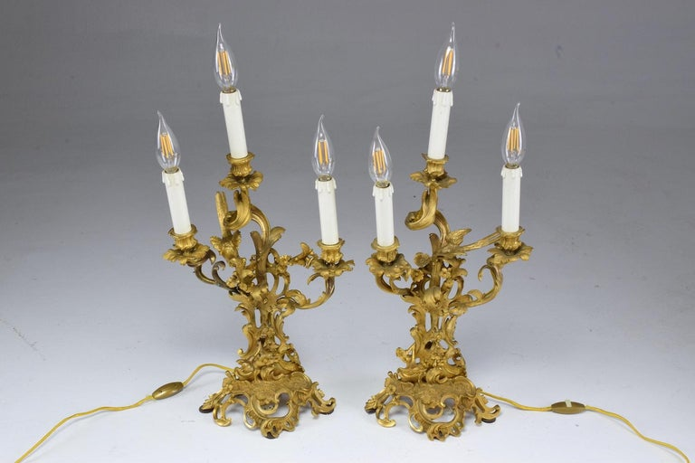 French Pair of Antique Louis VXI Ormolu Electrified Candelabras  For Sale 1