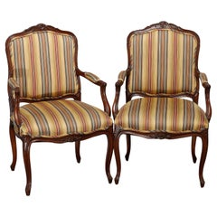 Antique Pair of French Louis XV Style Carved Walnut Upholstered Armchairs 20th C