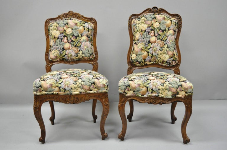 Antique Near Pair Of French Louis Xv Style Carved Walnut Upholstered Side Chairs Listing Includes
