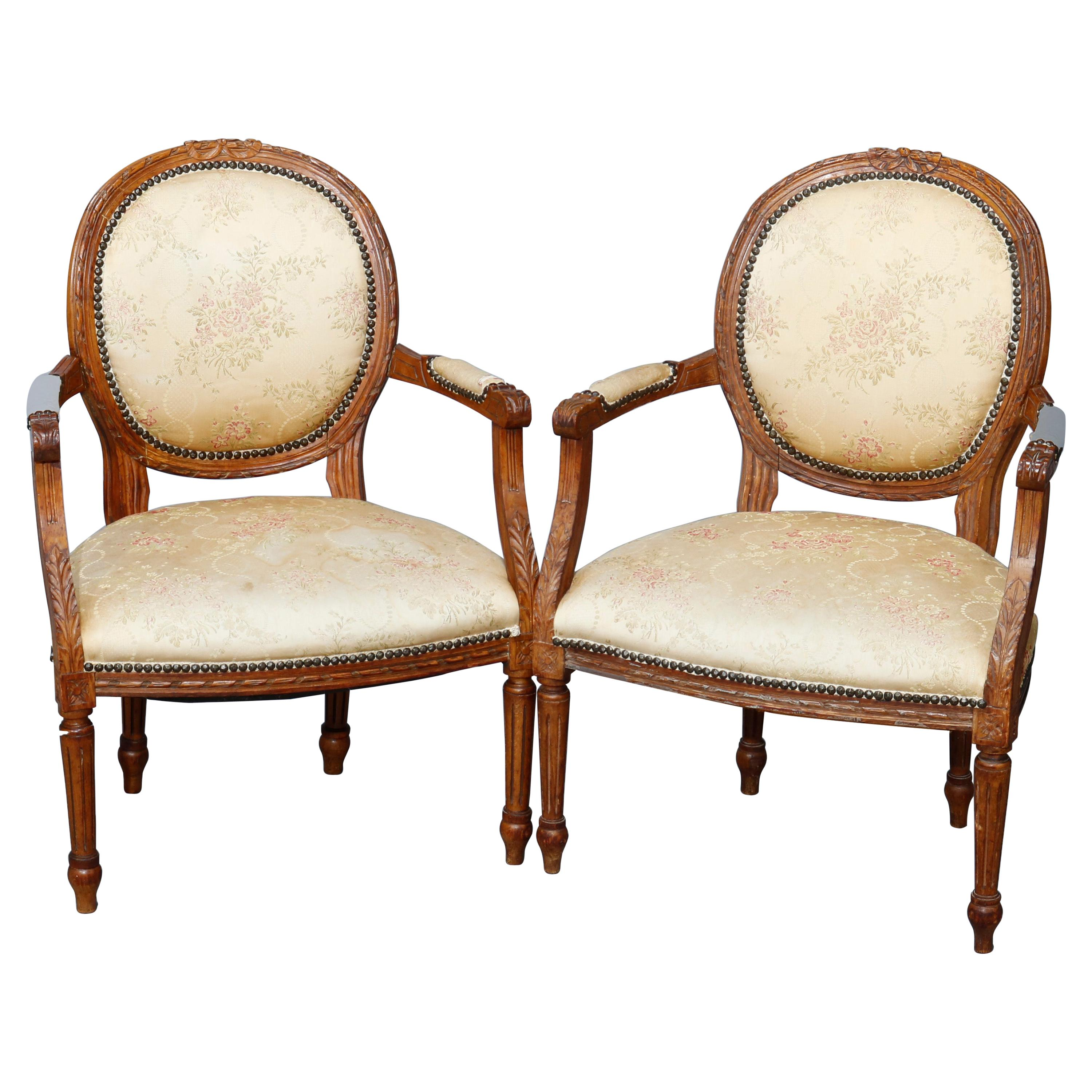 Antique Pair of French Louis XVI Style Walnut Fauteuil Armchairs, 19th C