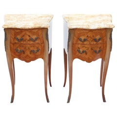 Antique Pair of French Marquetry Bedside Tables Cupboards Marble