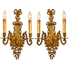Antique Pair of French Massive Bronze Louis XVI Wall Sconces