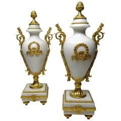 Antique Pair of French Ormolu White Cream Marble Garniture Vases Urns