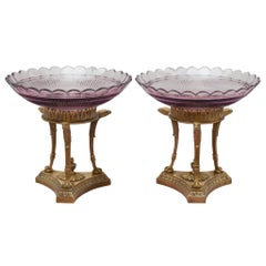 Antique Pair of French Purple Cut Crystal & Bronze Compotes / Tazzas / Bowls