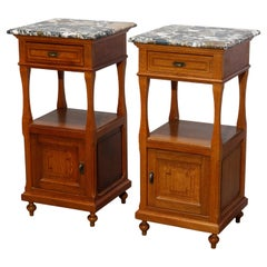 Antique Pair of French Renaissance Marble Top & Oak Side Stands, Circa 1900